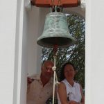 Ringing a monastery bell on Tilos island